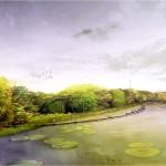 Planungskonzept des Landschaftsarchitekturbüros Munder+Erzepky. Es zeigt die Zukunftsvision eines bogenförmigen Stegs mit Sitzmöglichkeiten am Hiroshimapark (Bildquelle: Munder+Erzepky)