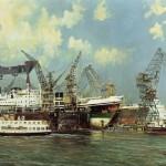 """""""Howaldtswerke AG - Gaarden"""", gemälde von Ewald Lifferth, um 1962 Kieler Stadt- und Schifffahrtsmuseum"""