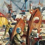 """""""Schiffbau bei den Howaldtswerken in Kiel"""", Gemälde von Harald Duwe, 1976-1978 Kieler Stadt- und Schifffahrtsmuseum"""